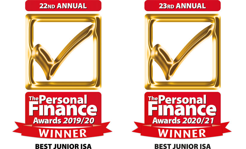 Personal Finance Awards  2019/20 - 2020/21 award for best Junior ISA