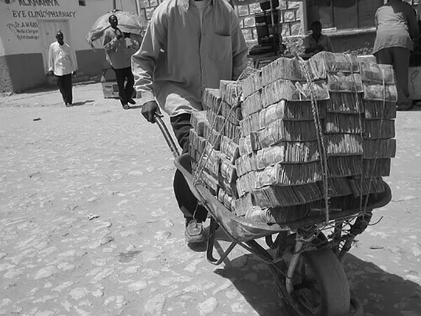Cash bundled into bricks in Somaliland