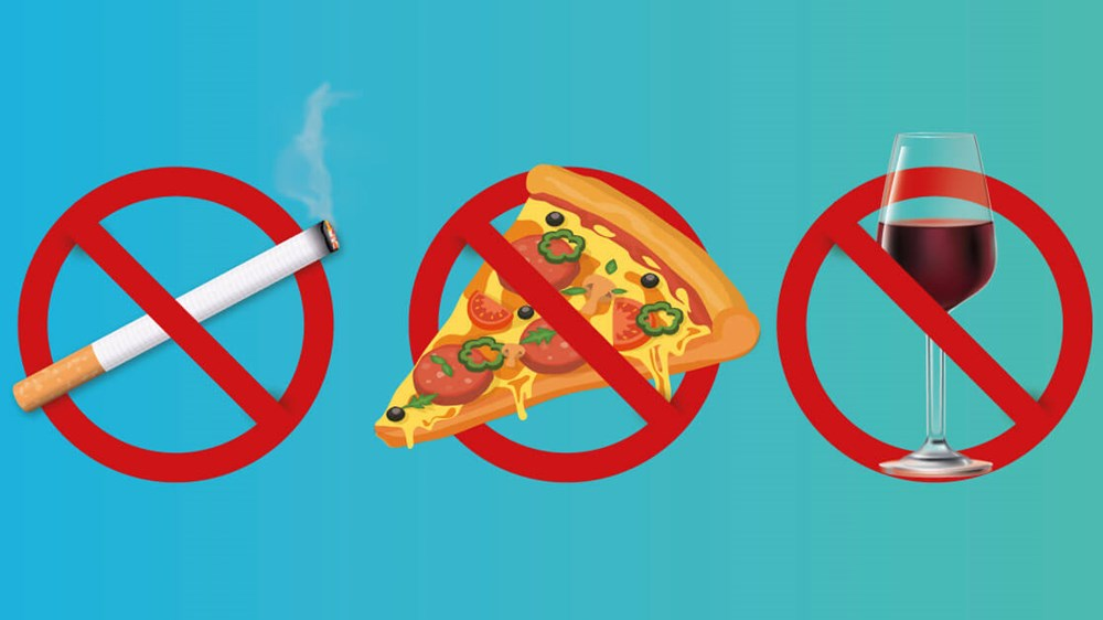 Give up smoking, takeaways, and wine