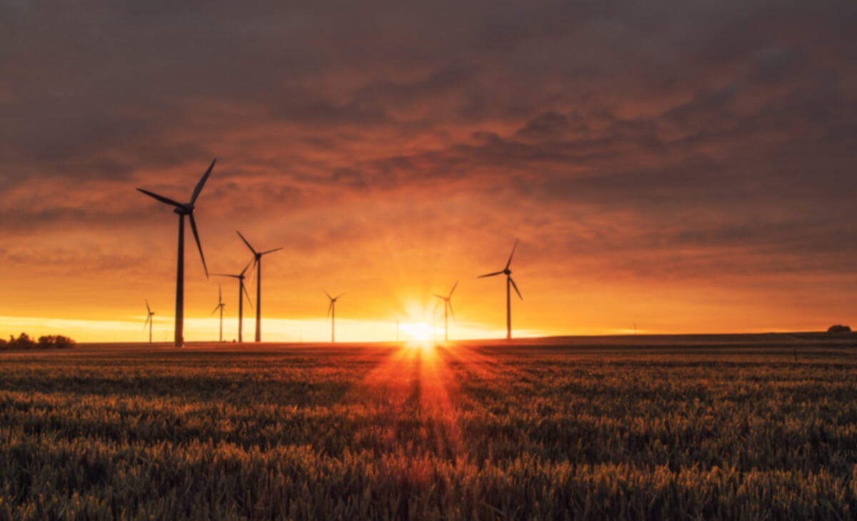 Wind farm with sunset